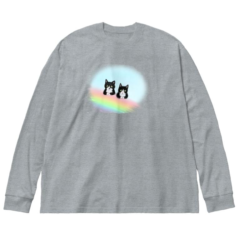 Atelier Heureuxの虹の橋のmonoクロちゃん達 Big silhouette long sleeve T-shirts