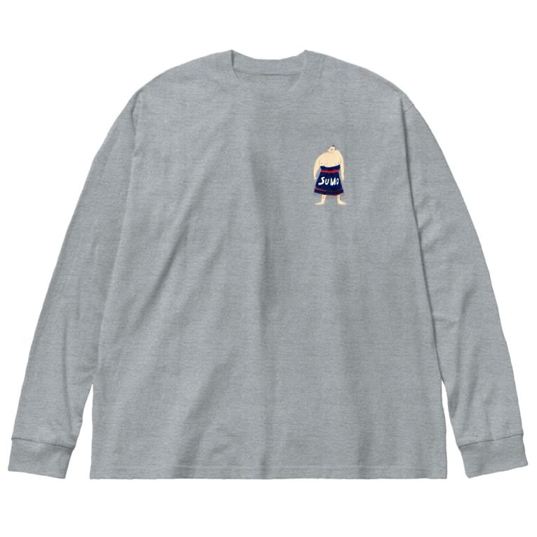 aeiuoのこっそりSUMO Big silhouette long sleeve T-shirts