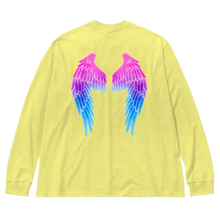 Angel channeling Art 天使のお部屋の天使の羽根2 Big silhouette long sleeve T-shirts