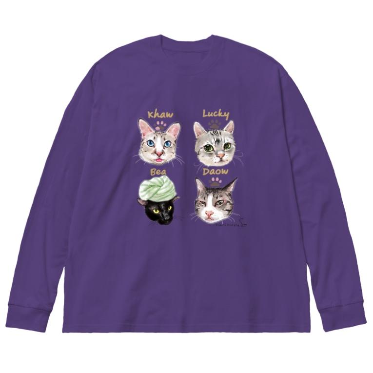 なにぬ猫-YAの<うちの子+にくきゅう*ポートレート>KHAW & DAOW&BEA&LUCKY Big silhouette long sleeve T-shirts