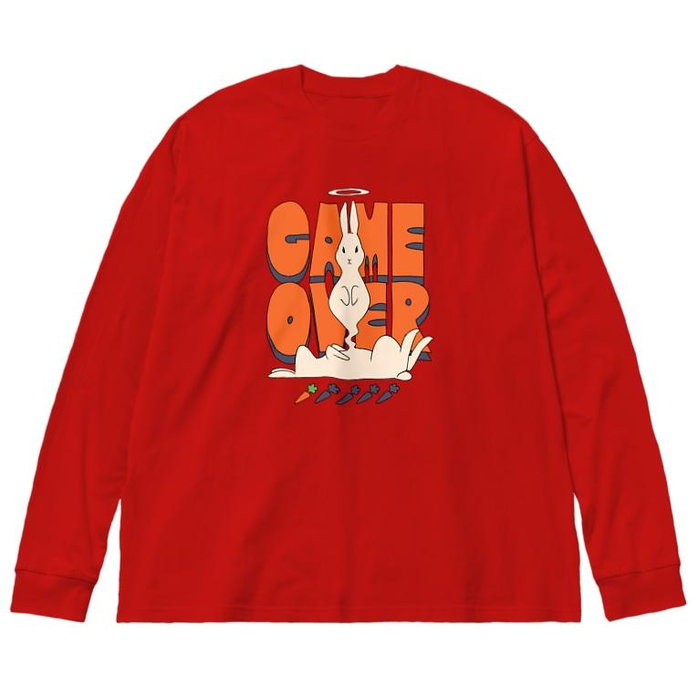 ねこぜもんのGAME OVER Big silhouette long sleeve T-shirts