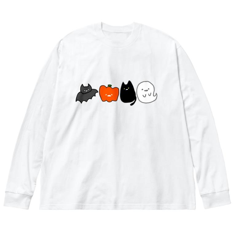 おもち屋さんのハロウィンの仲間たち Big silhouette long sleeve T-shirts