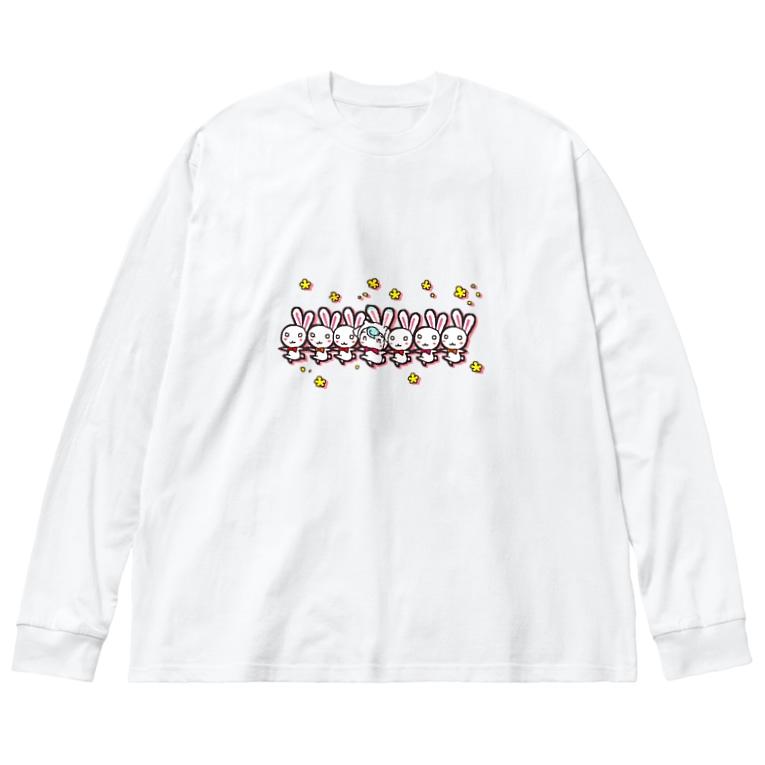 POISONCHARM電脳露店2号のウサヤギラインダンス Big silhouette long sleeve T-shirts