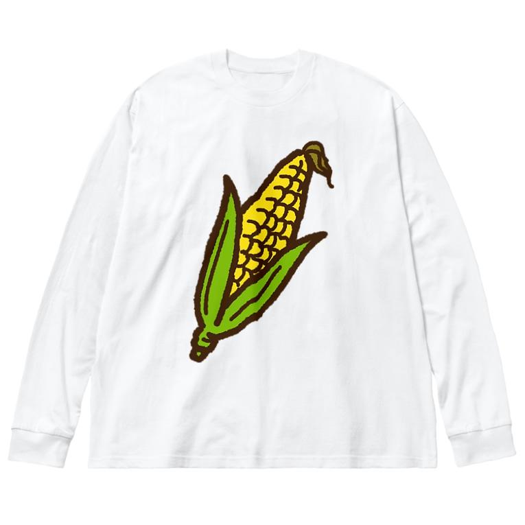 点心夫婦商店のとうもろこし Big silhouette long sleeve T-shirts