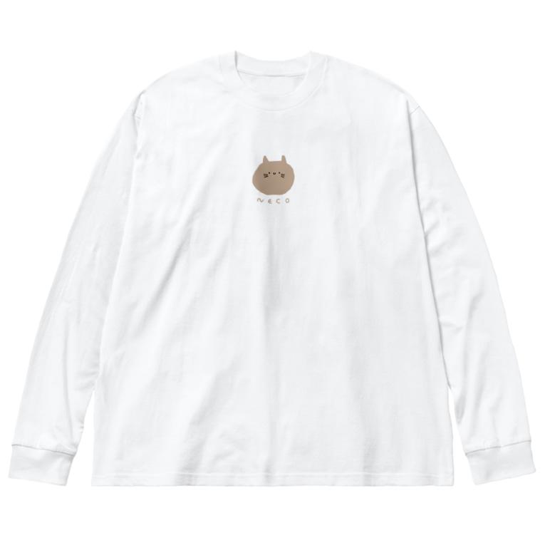 ミ オのちゃねこ Big silhouette long sleeve T-shirts