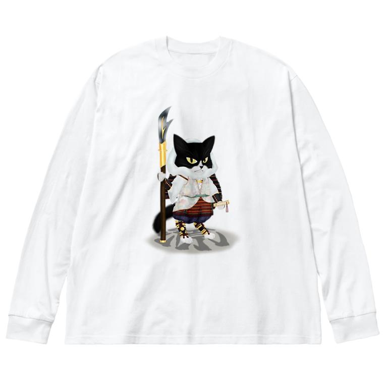 ねこや久鶻堂の源平戯画 : 武蔵坊弁慶 Big silhouette long sleeve T-shirts