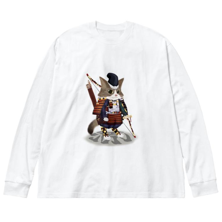 ねこや久鶻堂の源平戯画 : 那須与一 Big silhouette long sleeve T-shirts