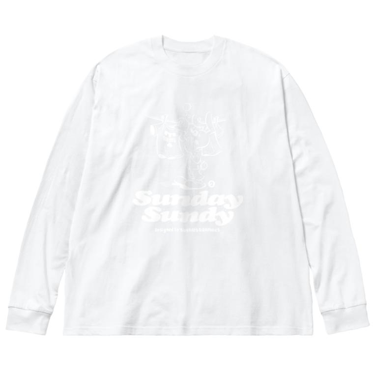 SUNDAYS GRAPHICSのSUNDAY SUNDY No.2 (白ロゴ) Big silhouette long sleeve T-shirts