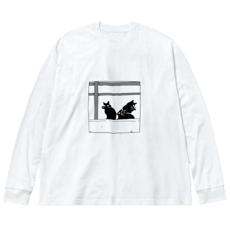 旅する漫画家shimi43ショップの黒猫たち Big silhouette long sleeve T-shirts