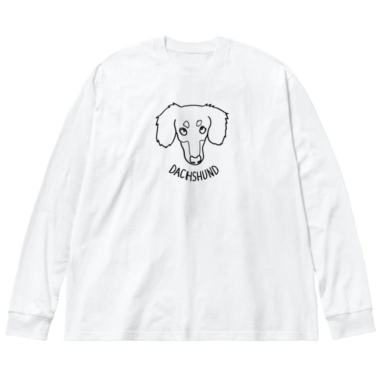 りこ@ミニチュアダックスフンドのダックス線タン Big silhouette long sleeve T-shirts