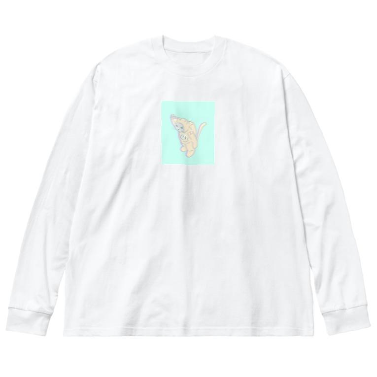 souのあすとろにゃーと Big silhouette long sleeve T-shirts