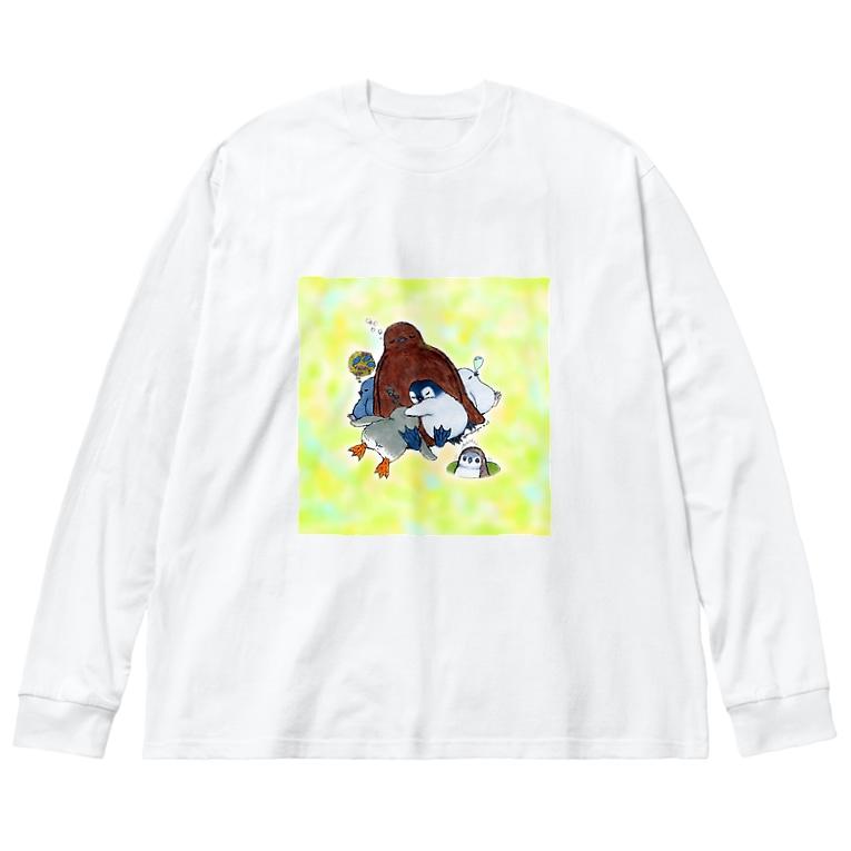 ヤママユ(ヤママユ・ペンギイナ)のまどろみヒナーズ Big silhouette long sleeve T-shirts
