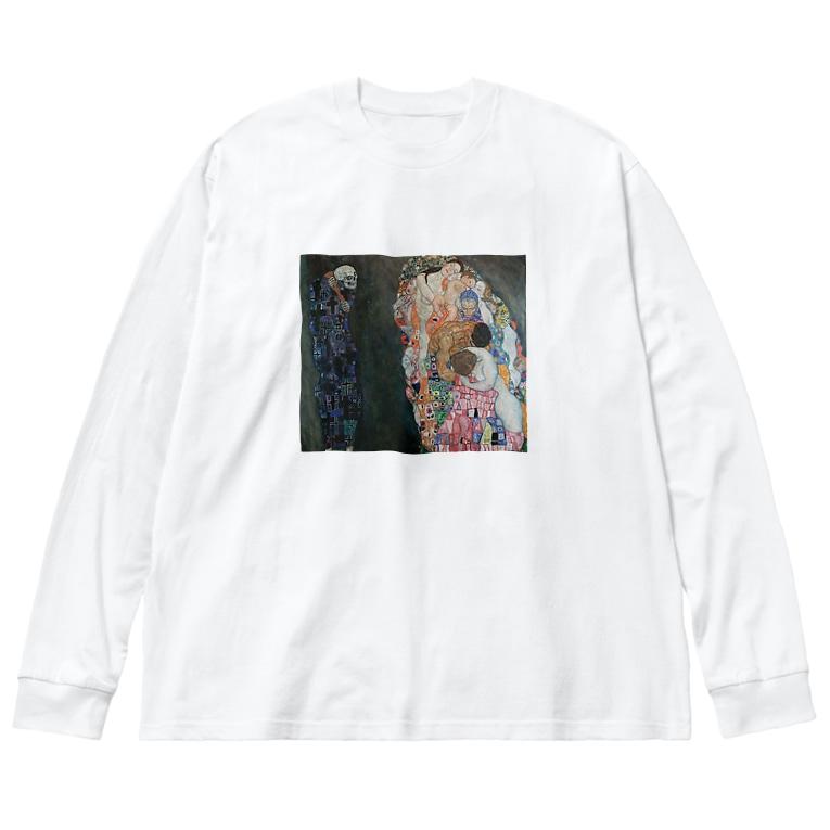art-standard(アートスタンダード)の グスタフ・クリムト(Gustav Klimt) / 『死と生』(1915年) Big silhouette long sleeve T-shirts