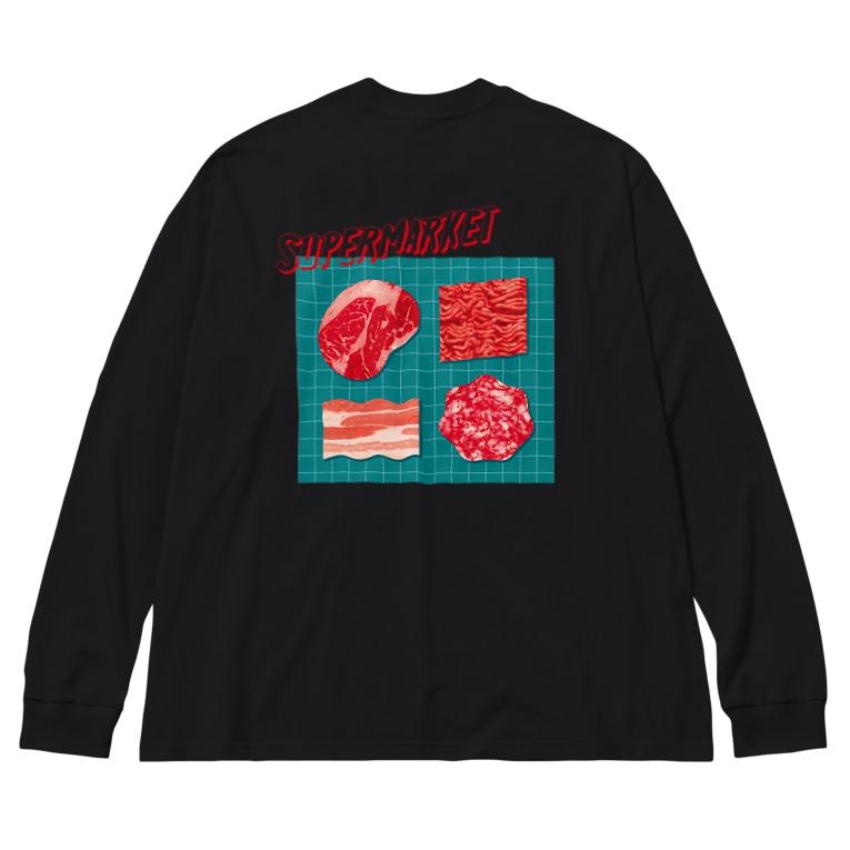 かじたのスーパーマーケット:肉 Big silhouette long sleeve T-shirts