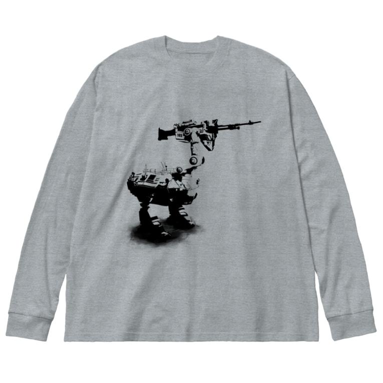 Poooompadoooourのcassowary(ロゴなしモノクロロボットのみ) Big silhouette long sleeve T-shirts