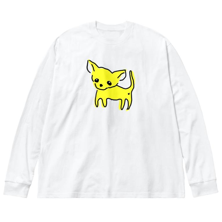akane_artのゆるチワワ(イエロー) Big silhouette long sleeve T-shirts