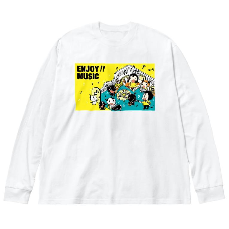 フルタハナコの「ハナばたけ」のENJOY MUSIC Big silhouette long sleeve T-shirts