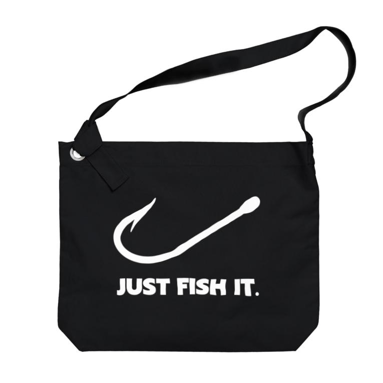 gemgemshopのJUST FISH IT (白) Big shoulder bags