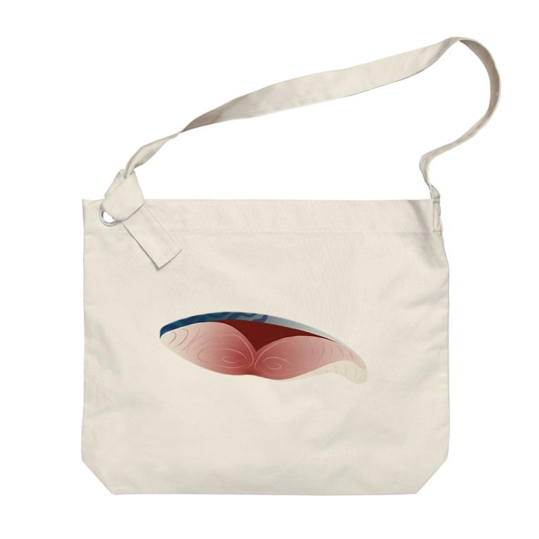イラストレーターみやもとかずみのオリジナルグッズ通販 ∞ SUZURI(スズリ)の鯖の切り身 Big shoulder bags