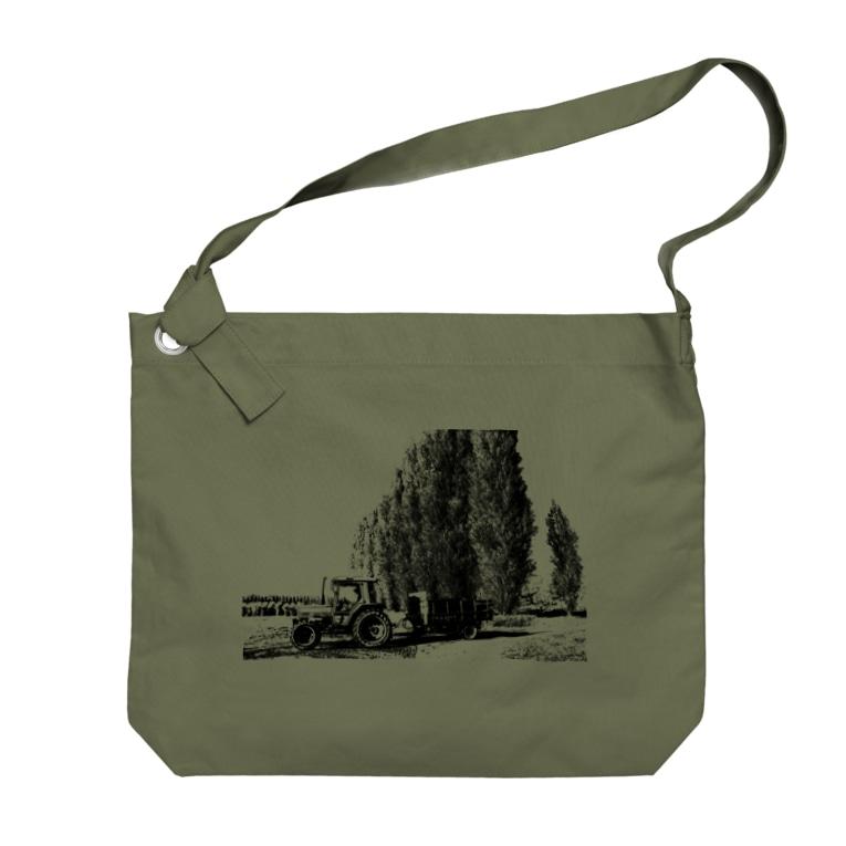 北海道大学恵迪寮寮歌グッズのポプラ並木とトラクター Big shoulder bags