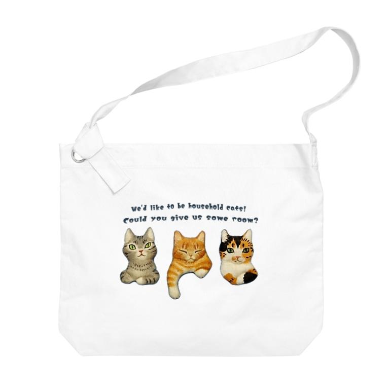 nonaの飼い猫になりたい三匹の猫 Big shoulder bags