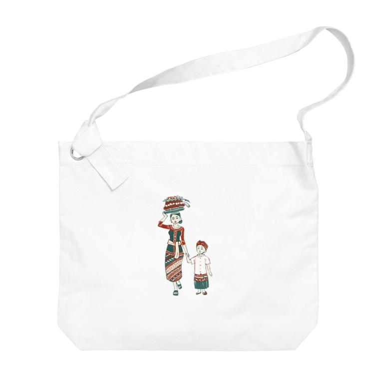 akaneyabushitaの【バリの人々】お母さんと子供 Big shoulder bags