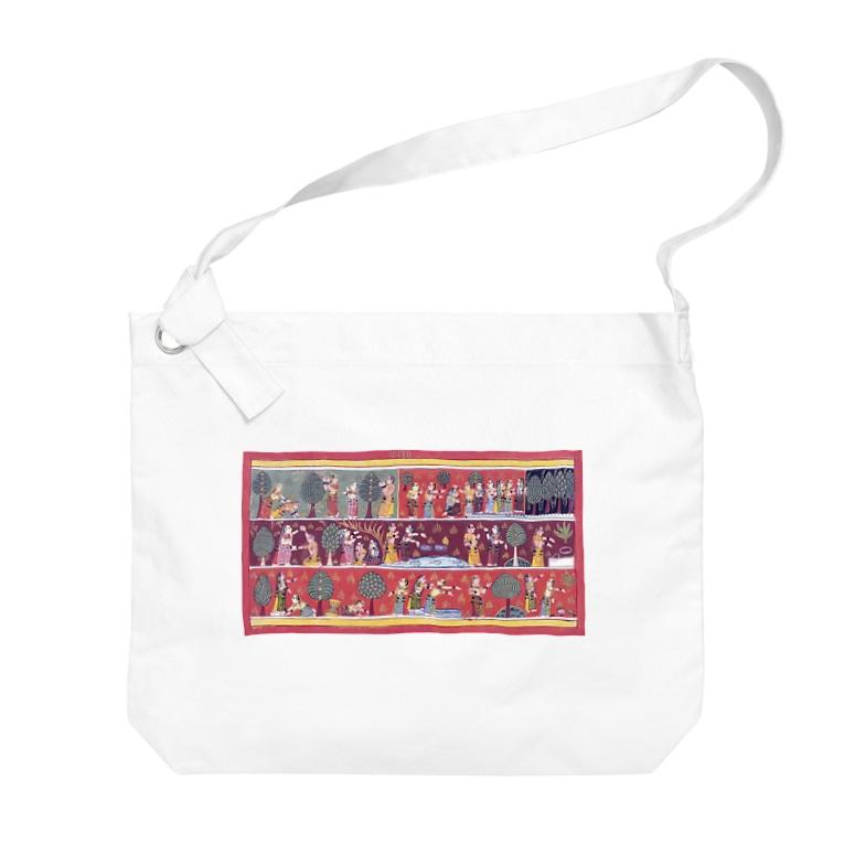 Nursery Rhymesのインド絵画「クリシュナ探し」 Big shoulder bags