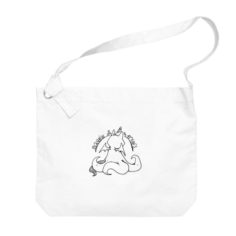 ちょぼろうSHOPの冒涜的な猫ルフ(背中色なし) Big shoulder bags