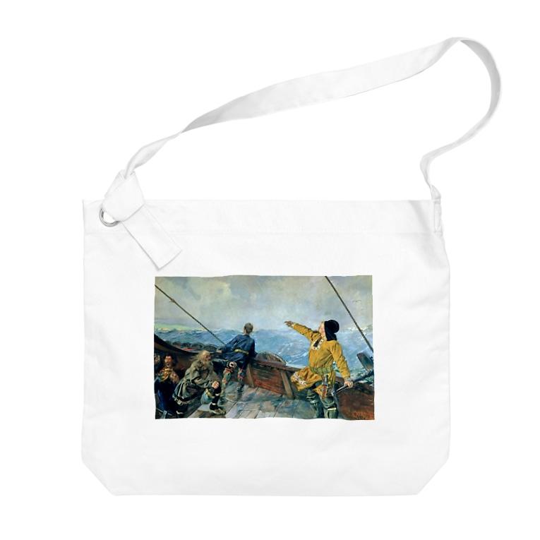 世界の絵画アートグッズのクリスチャン・クローグ《アメリカを発見したレイフ・エリクソン》 Big Shoulder Bag