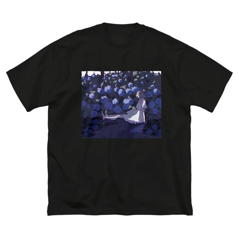 もえこの紫陽花 Big silhouette T-shirts