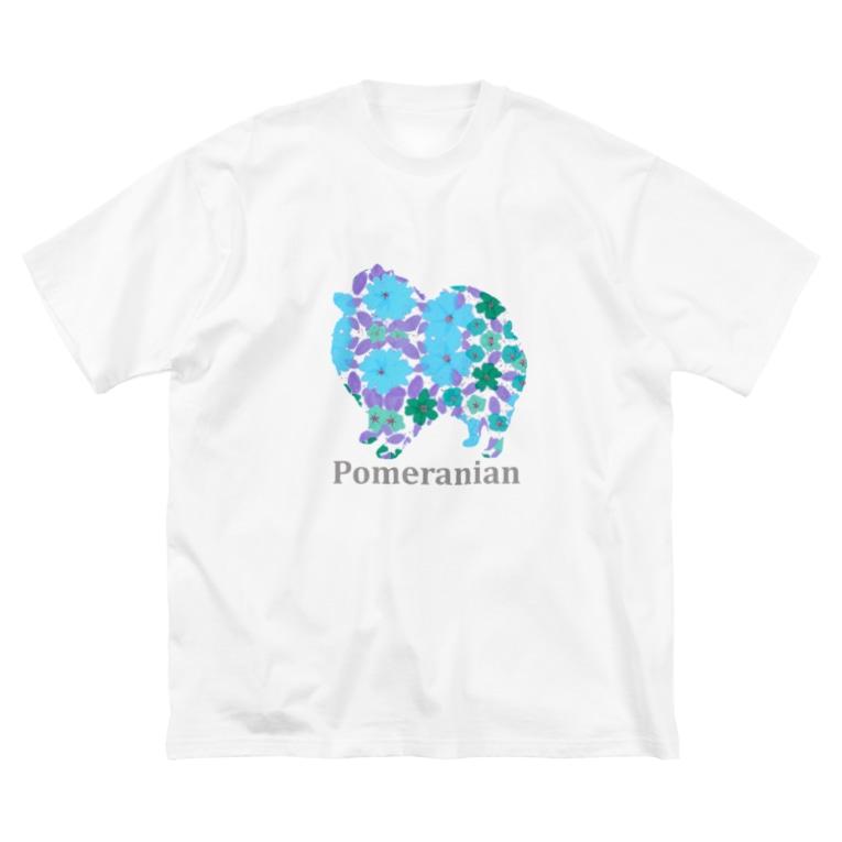 AtelierBoopの花 ポメラニアン Big silhouette T-shirts