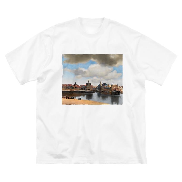 public domainのデルフトの眺望 / ヨハネス・フェルメール Big silhouette T-shirts