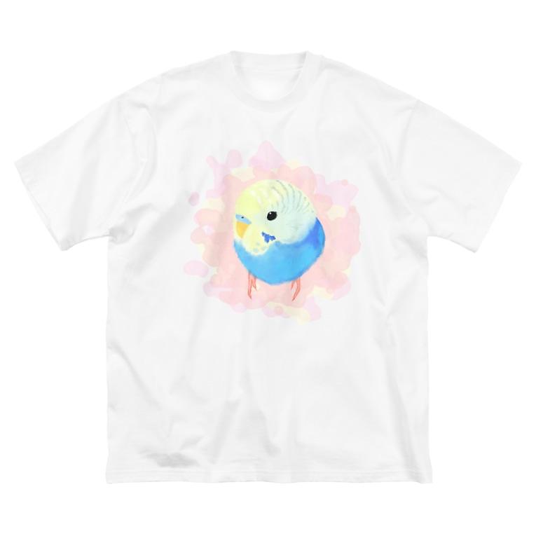 まめるりはことりのまるまるセキセイインコ【まめるりはことり】 Big silhouette T-shirts