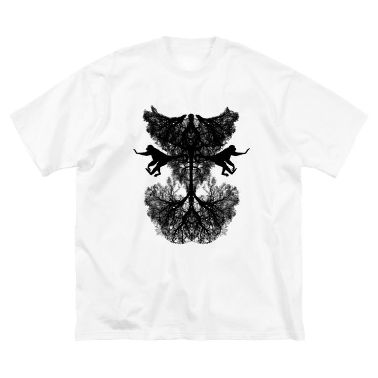 夢猿【弐】怪談朗読ショップの悪魔 Big silhouette T-shirts