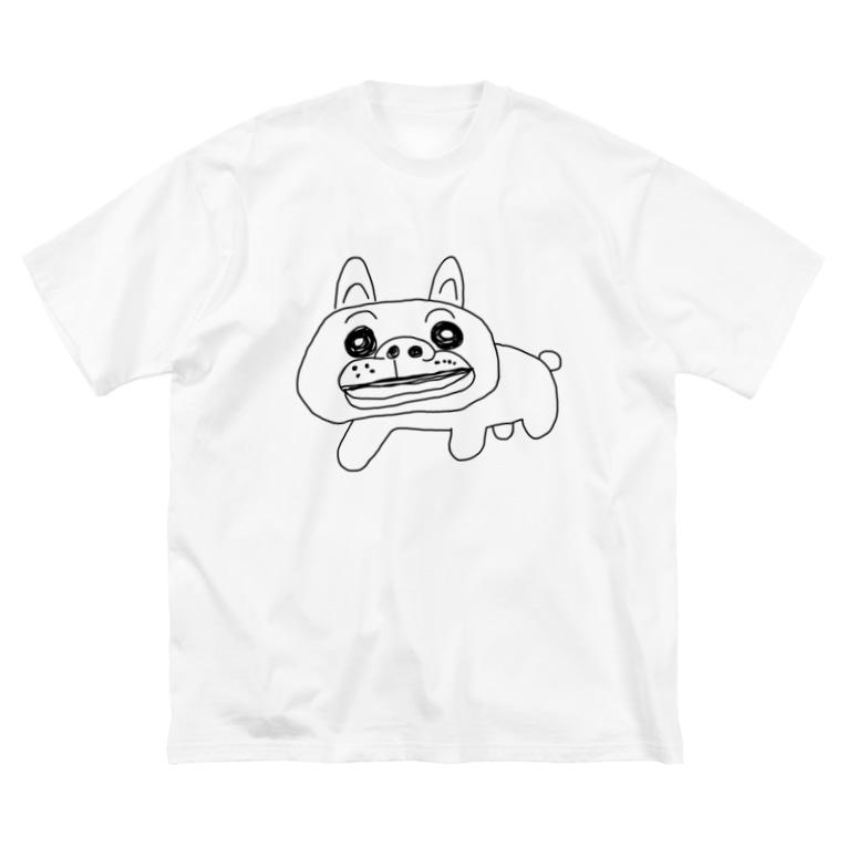 KURUMIMISHOPのゆるゆるブルドッグ Big silhouette T-shirts
