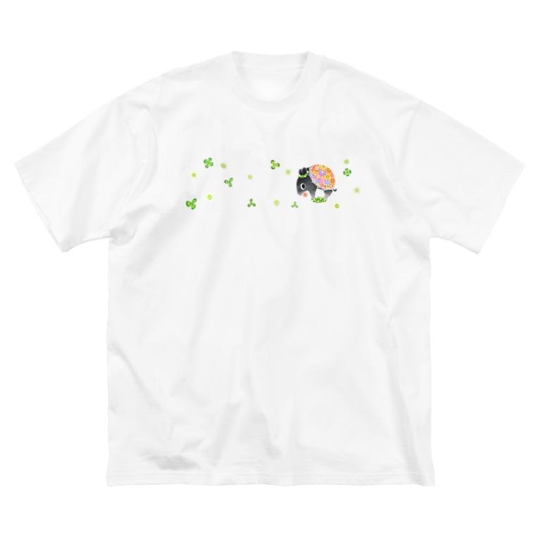 ハルノキ工房のはなくいバク(クローバー) Big silhouette T-shirts