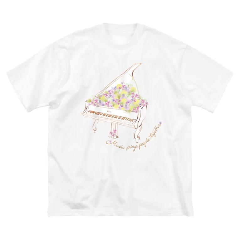 mayapatternの花ピアノ Big silhouette T-shirts