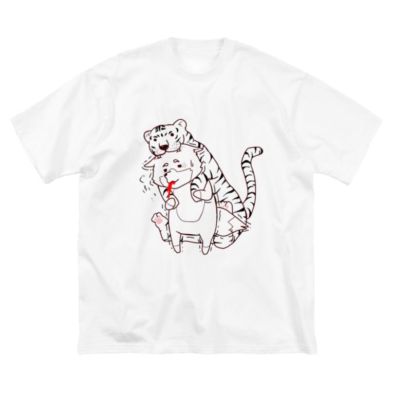 Lani*Lani-online shop-のトラの威を借りきれてない狐。。。  その② Big silhouette T-shirts