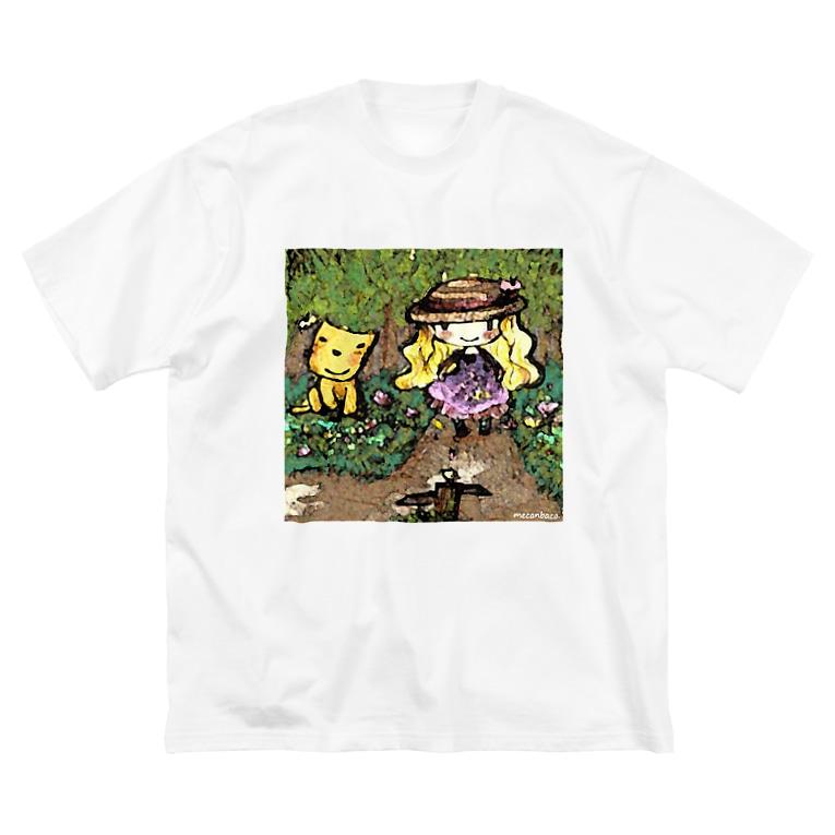 屋根裏ひみつ結社のmecanbaco.『森とネコと少女』 Big silhouette T-shirts