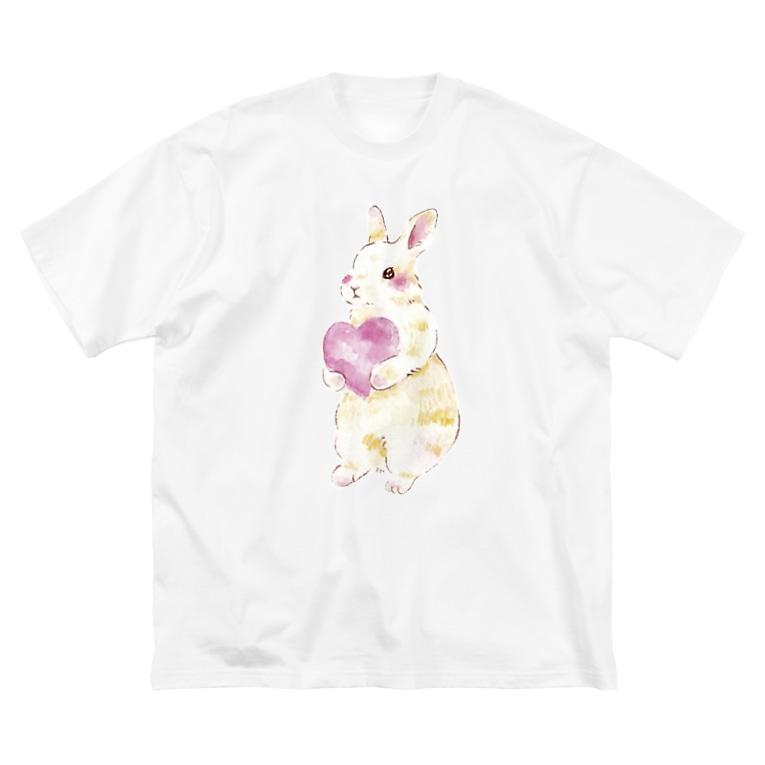 しず華*(カラー・リボンボン)のきゅんきゅんうさぎ Big silhouette T-shirts