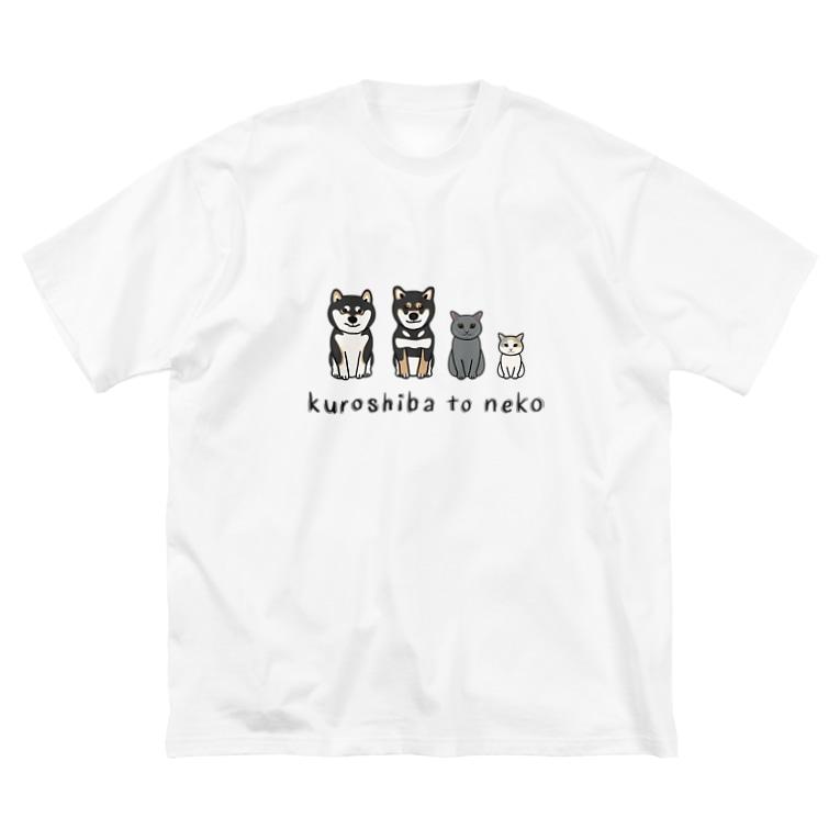 Yuika Shiomiのkuroshiba to neko Big silhouette T-shirts