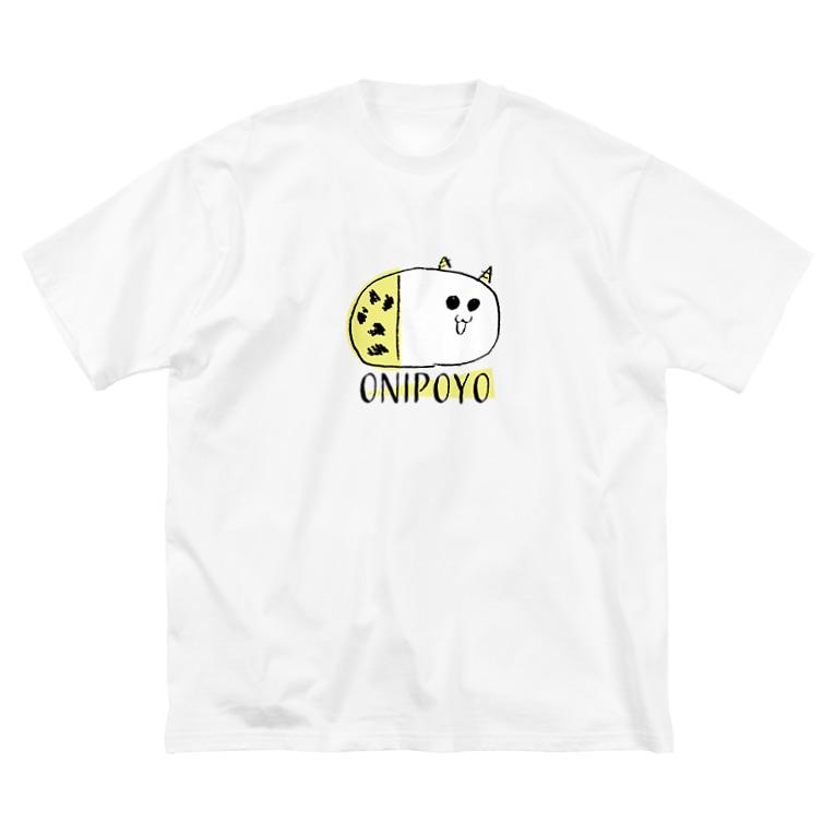 nemunoki paper itemのおにぽよ Big silhouette T-shirts