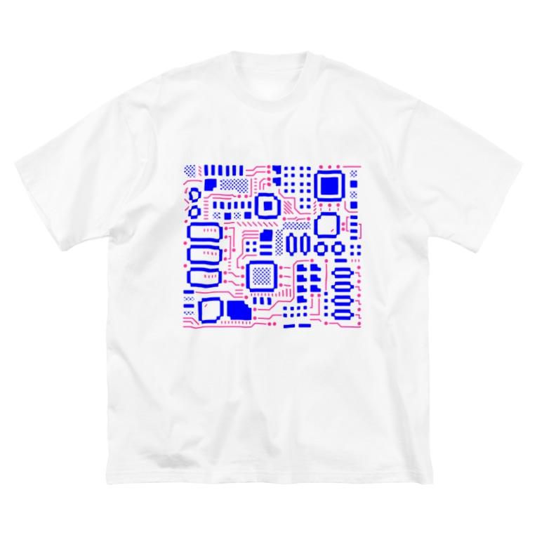 処理場の電子基盤 Big silhouette T-shirts