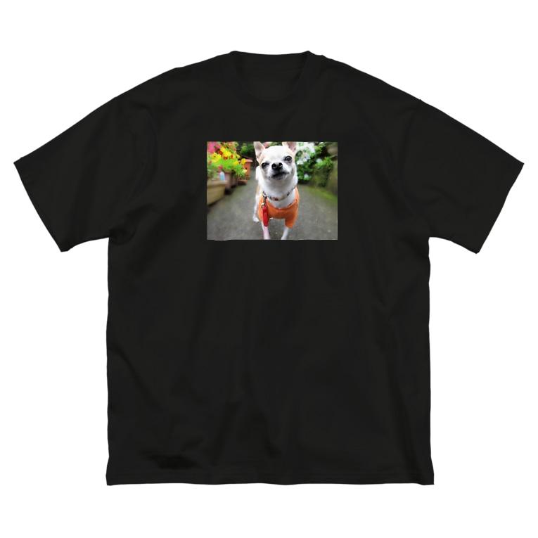 akane_artのカラフルチワワ(フラワー) Big silhouette T-shirts