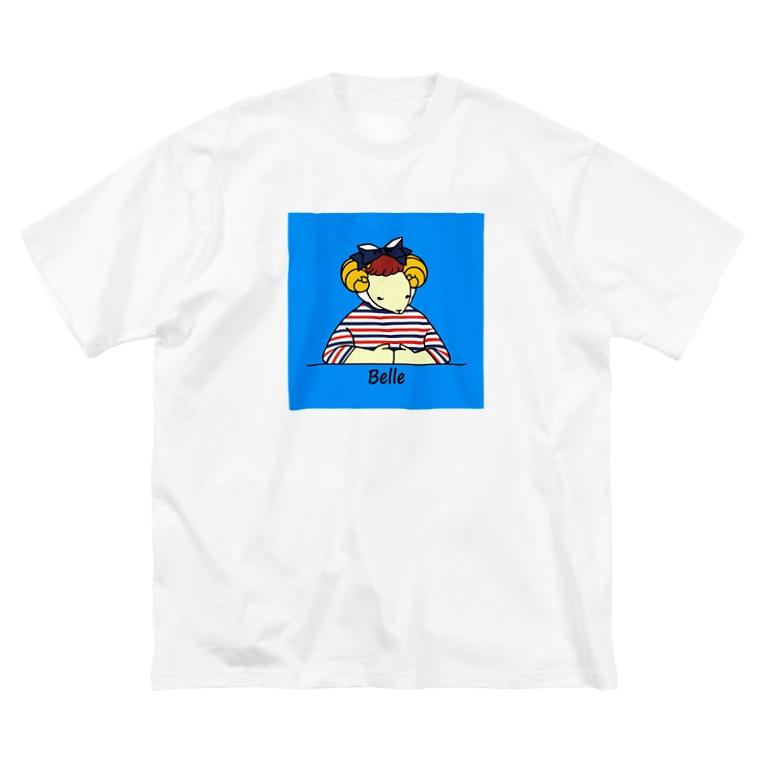 BonBonのトリコロールベル(背景あり) Big silhouette T-shirts