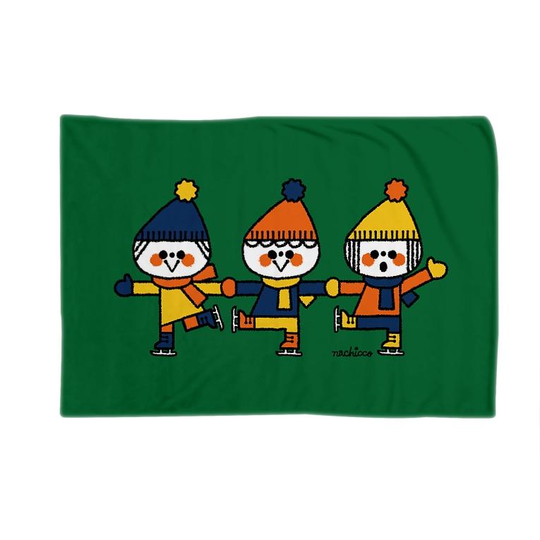nachiccoのアイススケート:ミドリ Blankets