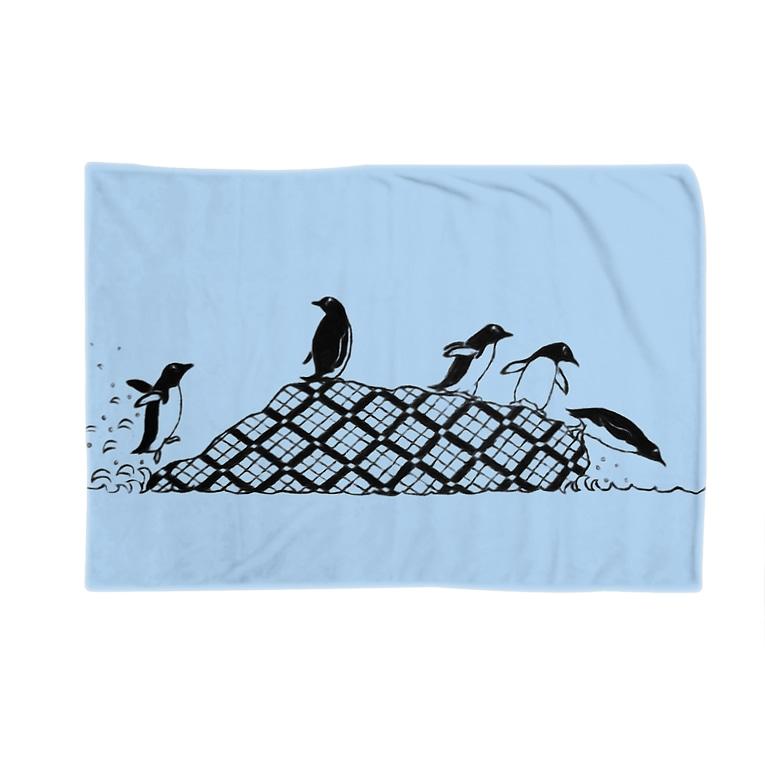 bani-emonのペンギンズ ブルー Blankets