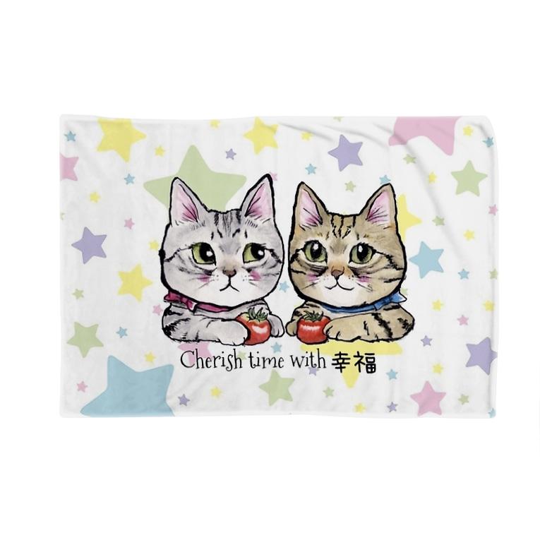 tantan&ikoのお店の幸福な時間を大切に🍅🐱🐱🍅星柄⭐️ Blankets