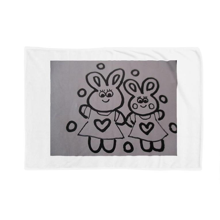 nikonikopageのウサギの親子とハート Blankets