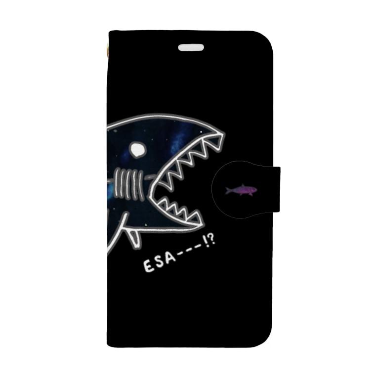 ユウレイのサメとイワシ(ブラック) Book-Style Smartphone Case